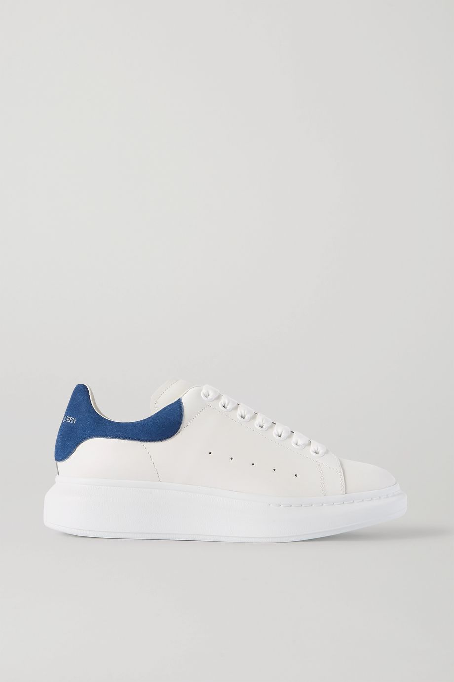 ALEXANDER MCQUEEN Two-tone suede-trimmed leather exaggerated-sole sneakers