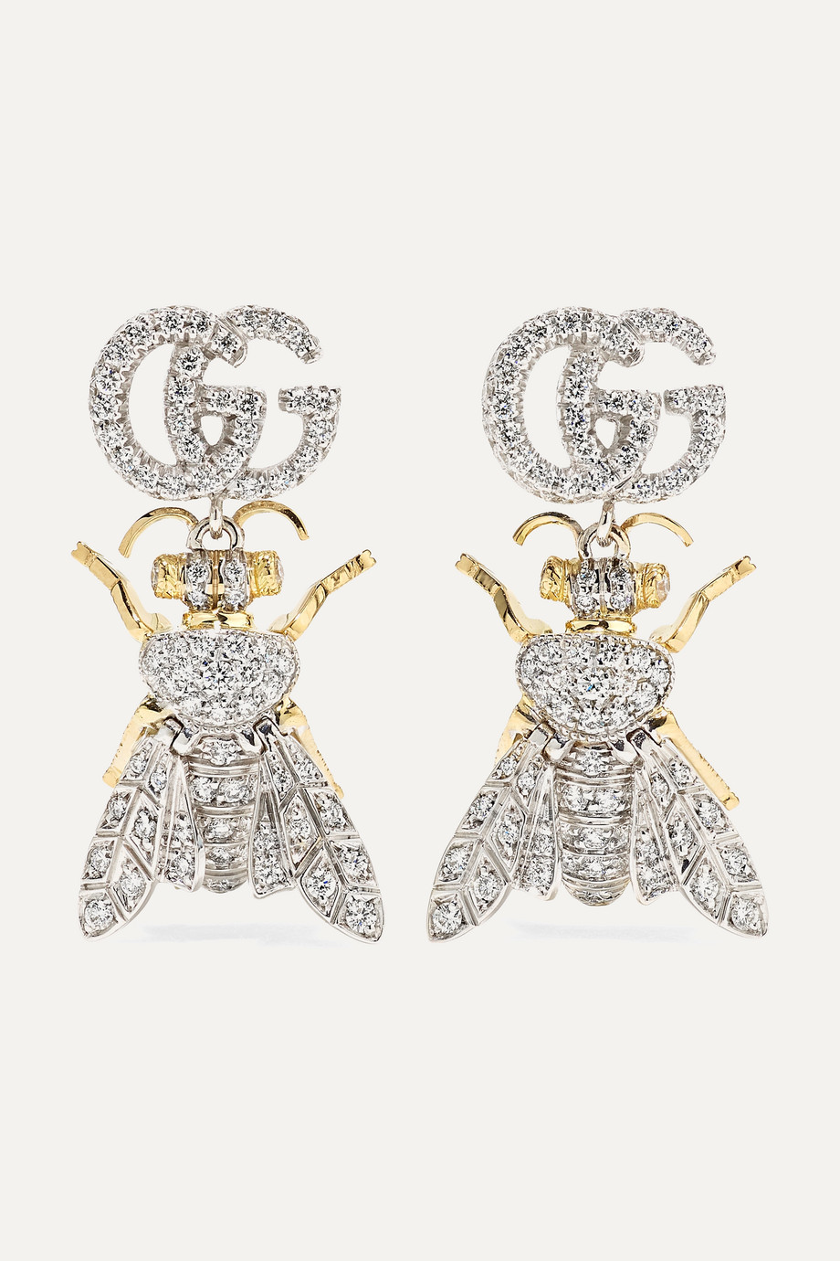 GUCCI Le Marché des Merveilles 18-karat yellow and white gold diamond earrings