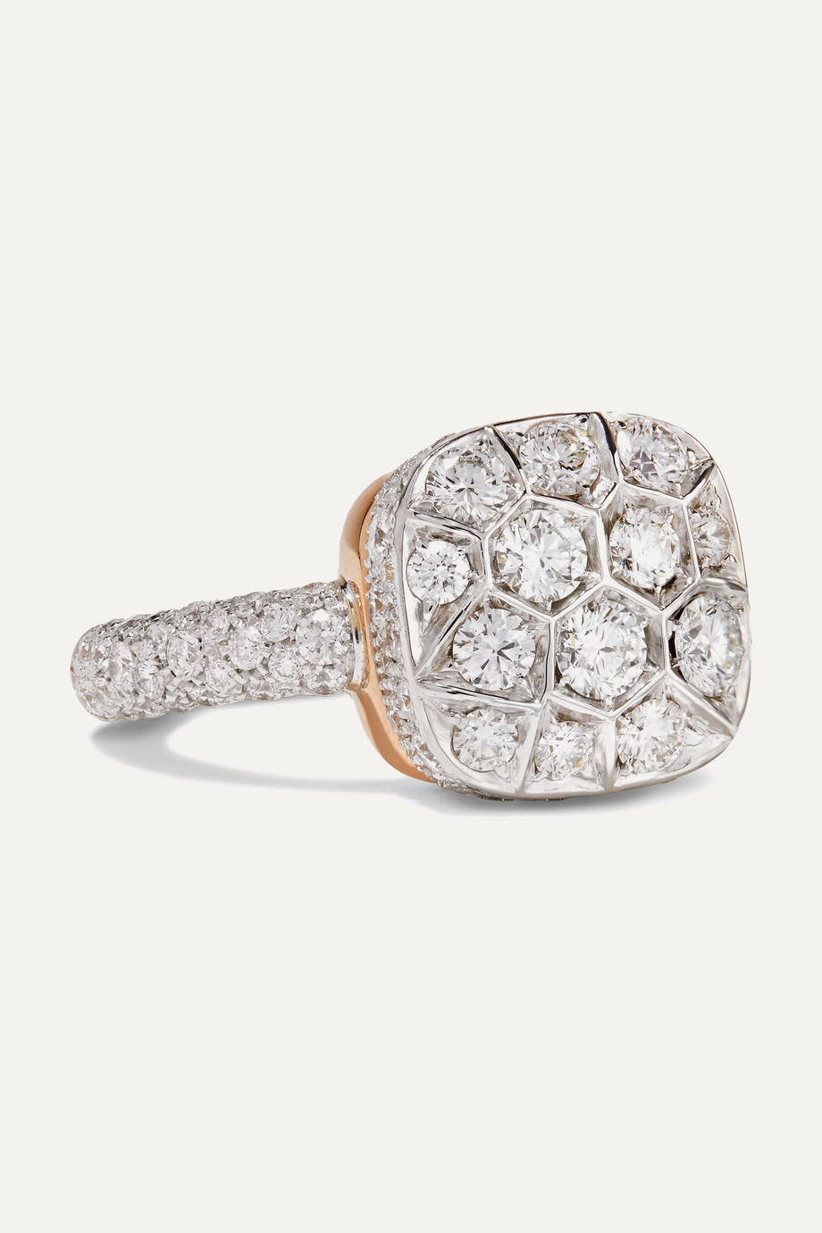 POMELLATO Nudo 18-karat rose and white gold diamond ring