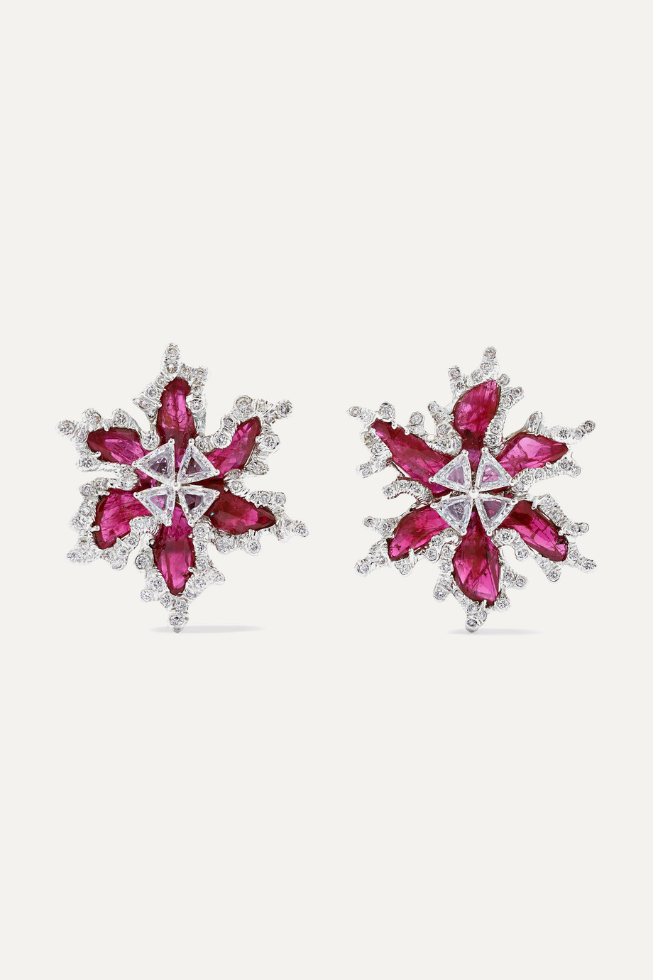 Bina Goenka 18-karat gold, diamond and ruby earrings