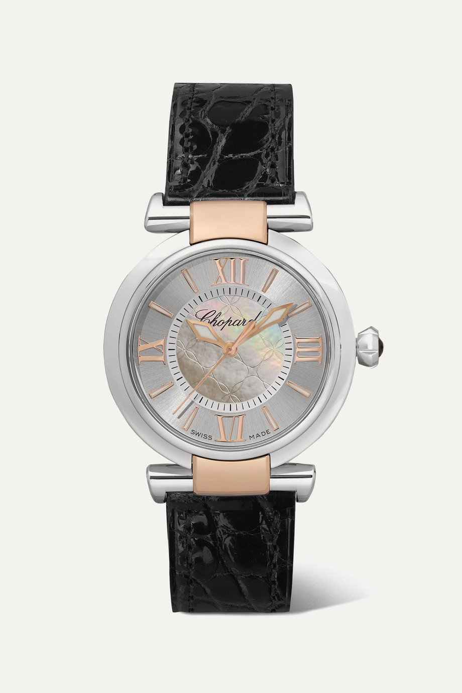 CHOPARD Imperiale Automatic 29mm stainless steel, 18-karat rose gold, alligator and mother-of-pearl watch