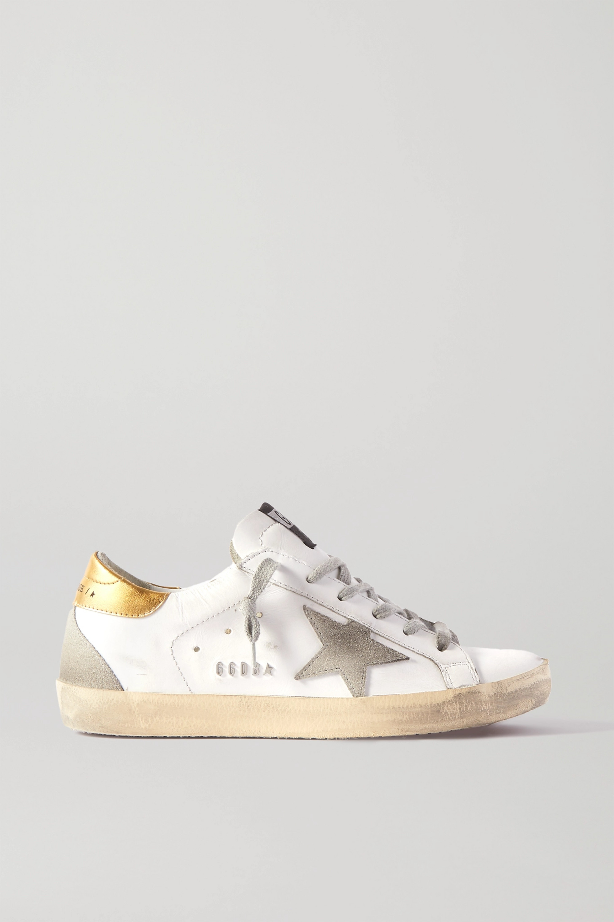 GOLDEN GOOSE Superstar distressed leather and suede sneakers