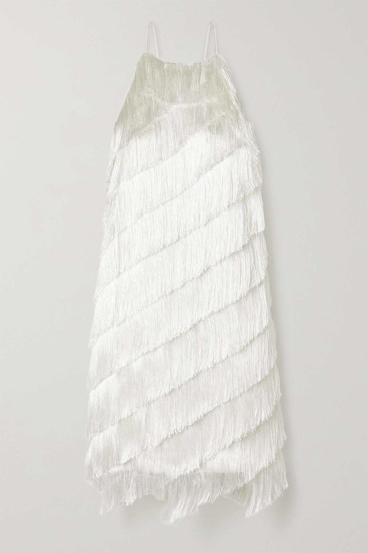 HALSTON HERITAGE - Fringed Crepe Dress - Ivory - US4