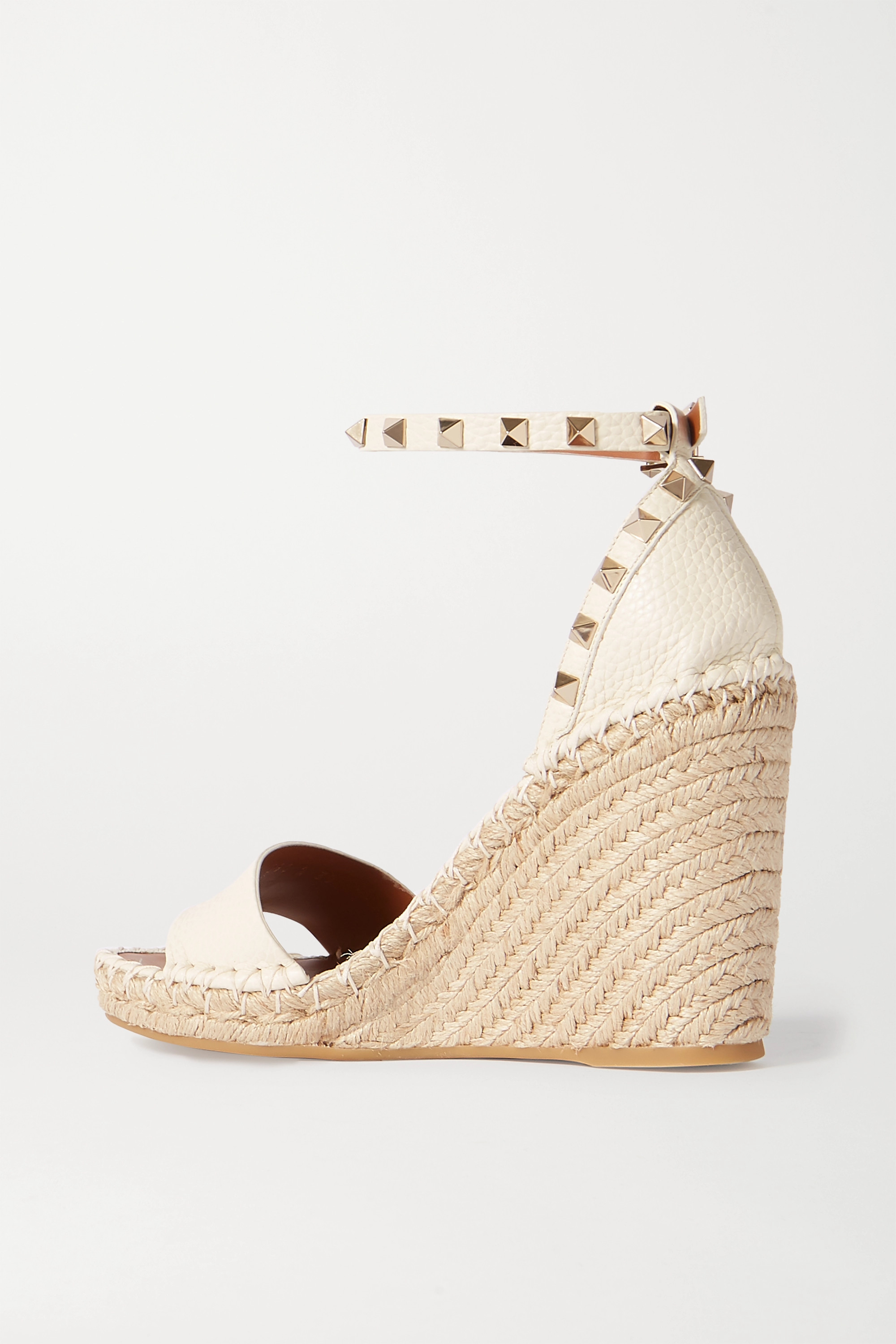 VALENTINO Valentino Garavani Rockstud 105 textured-leather espadrille wedge sandals