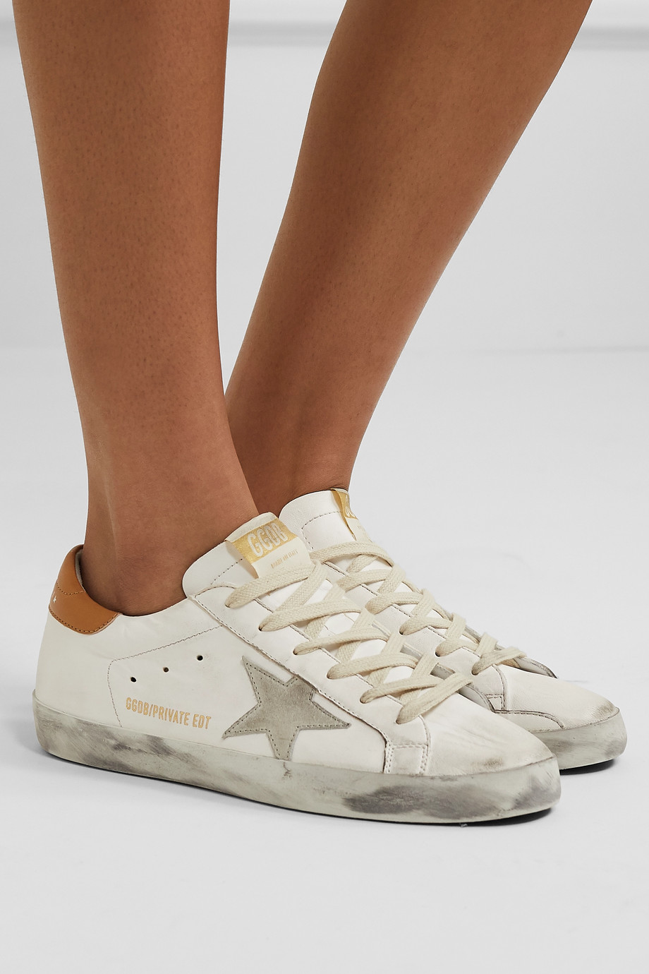GOLDEN GOOSE Superstar distressed suede-trimmed leather sneakers