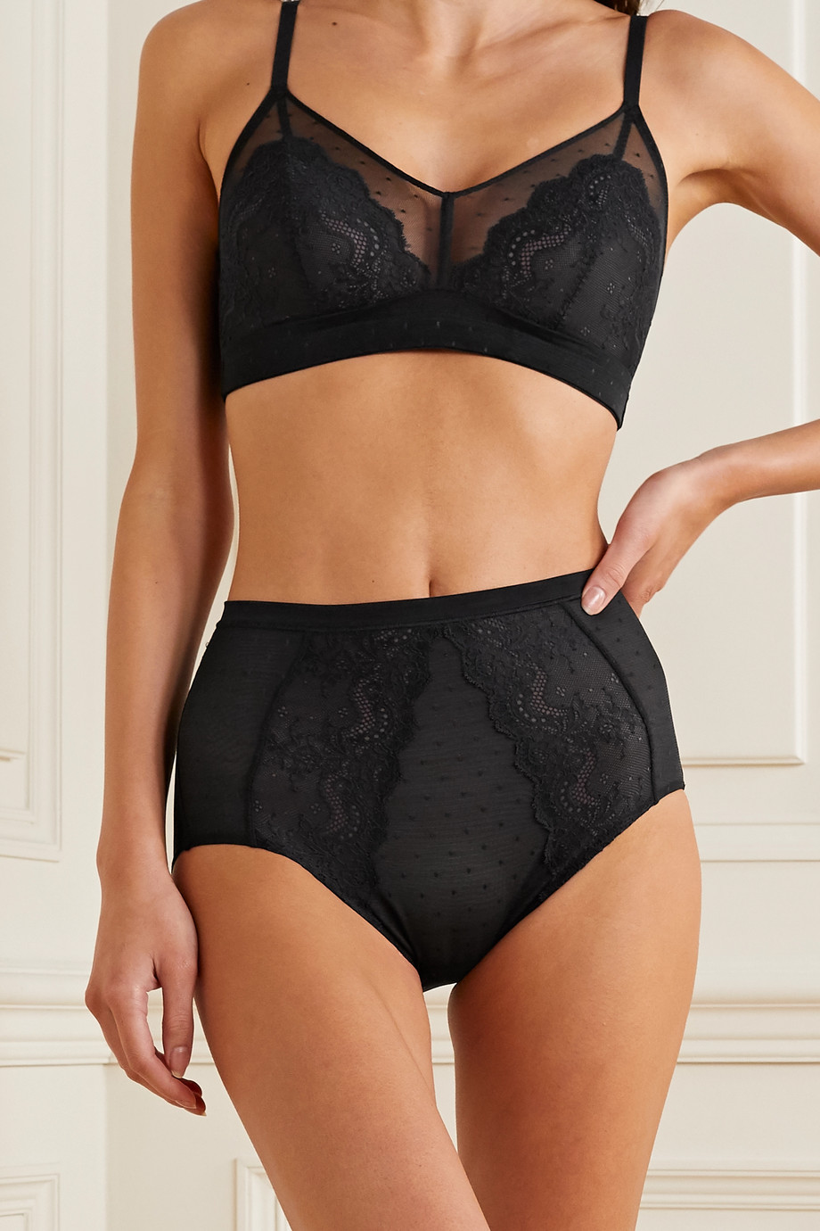 SPANX Spotlight lace-trimmed stretch-tulle bralette
