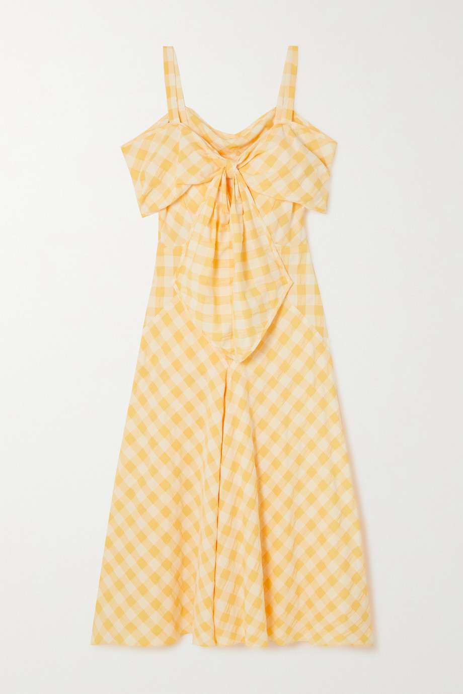 ANNA MASON Lily bow-detailed cold-shoulder gingham cotton midi dress