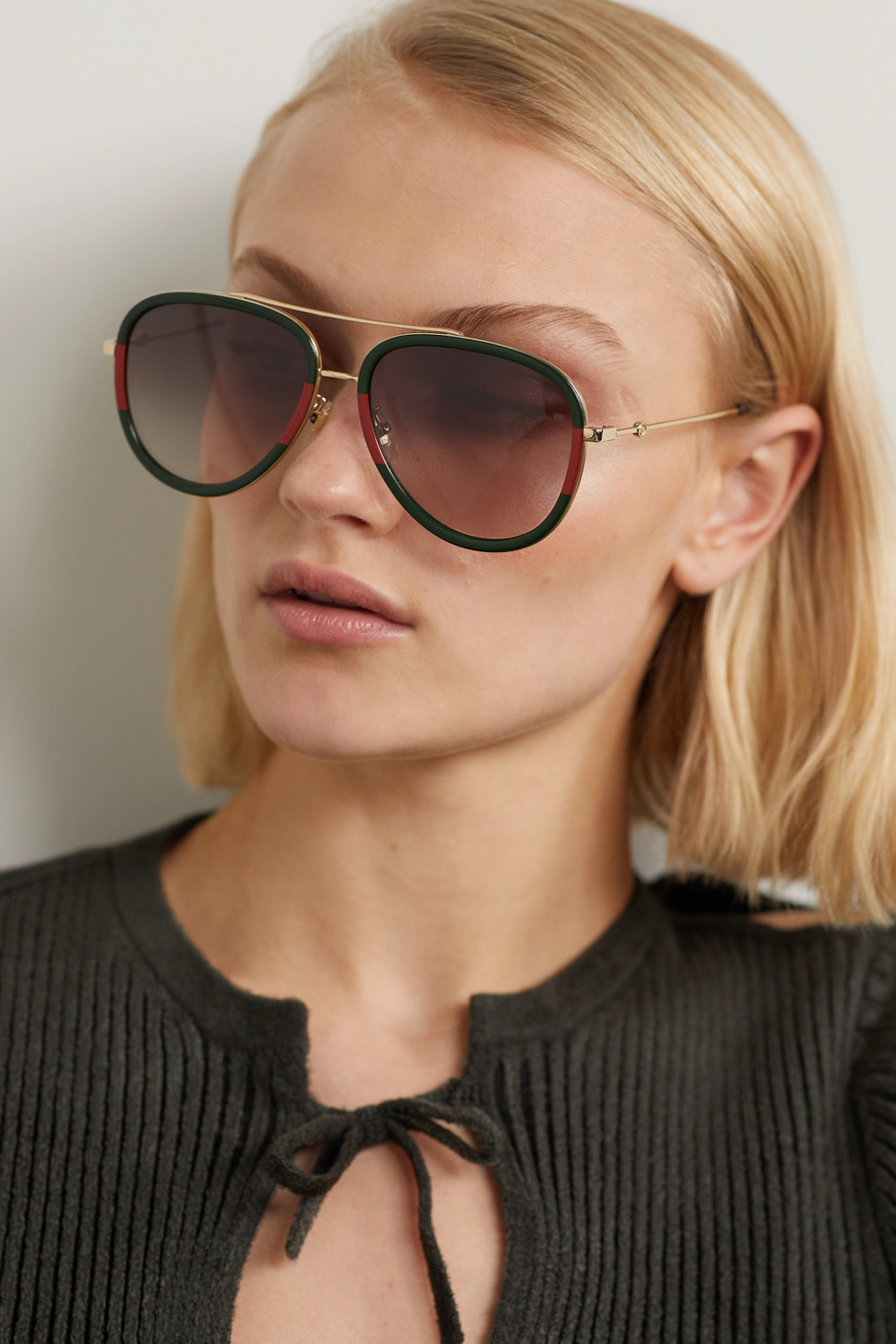 GUCCI Pop Web aviator-style acetate and gold-tone sunglasses