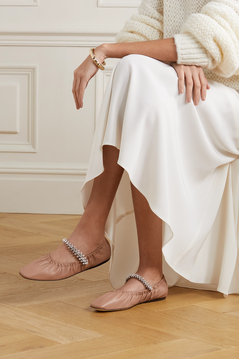 JIMMY CHOO Gai crystal-embellished glossed-leather ballet flats