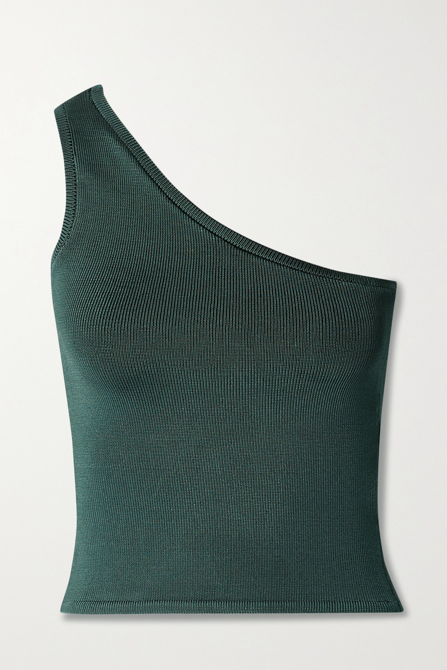 CALLE DEL MAR + NET SUSTAIN cropped one-shoulder stretch-knit top