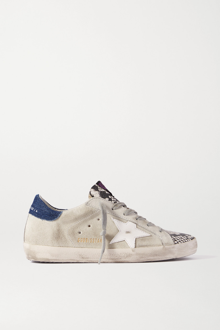 GOLDEN GOOSE Superstar denim-trimmed distressed snake-effect leather and suede sneakers