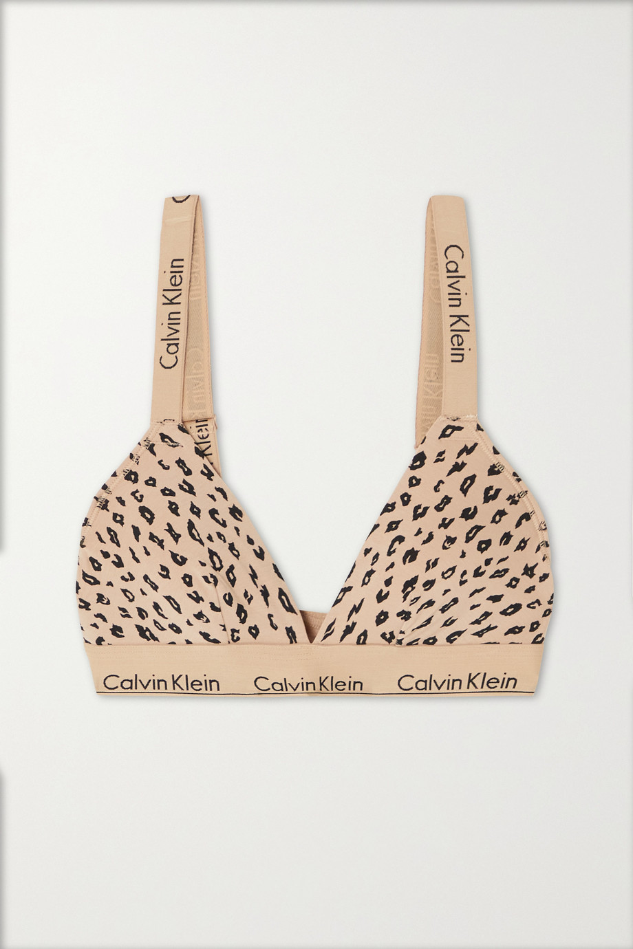 CALVIN KLEIN Cheetah-print stretch cotton and modal-blend jersey soft-cup triangle bra