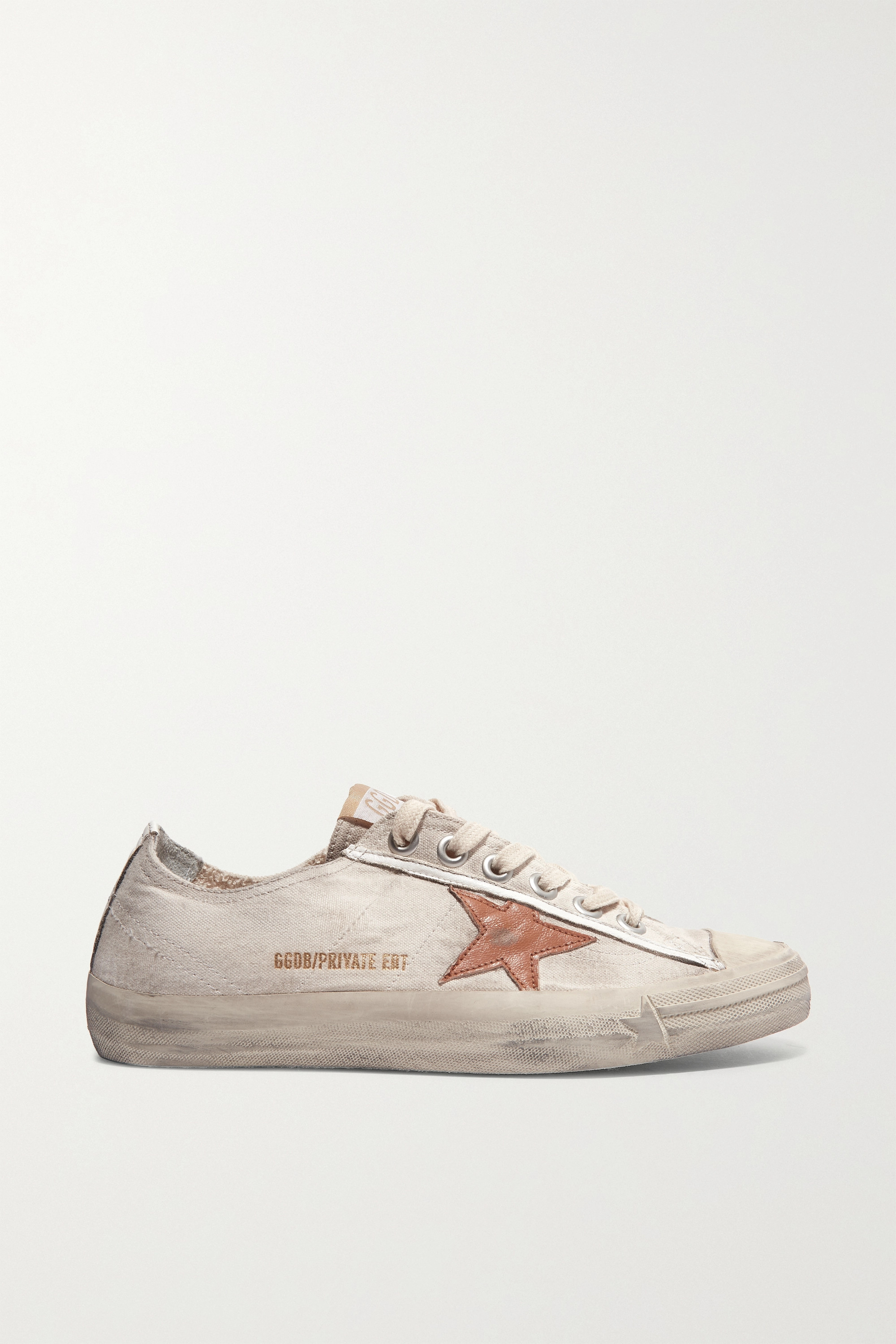 GOLDEN GOOSE V-Star distressed recycled canvas and leather sneakers