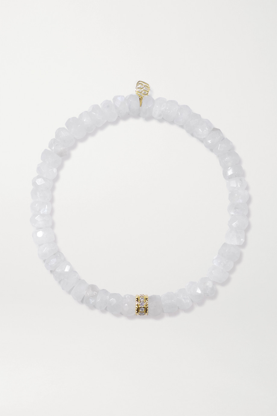 SYDNEY EVAN 14-karat gold, moonstone and diamond bracelet