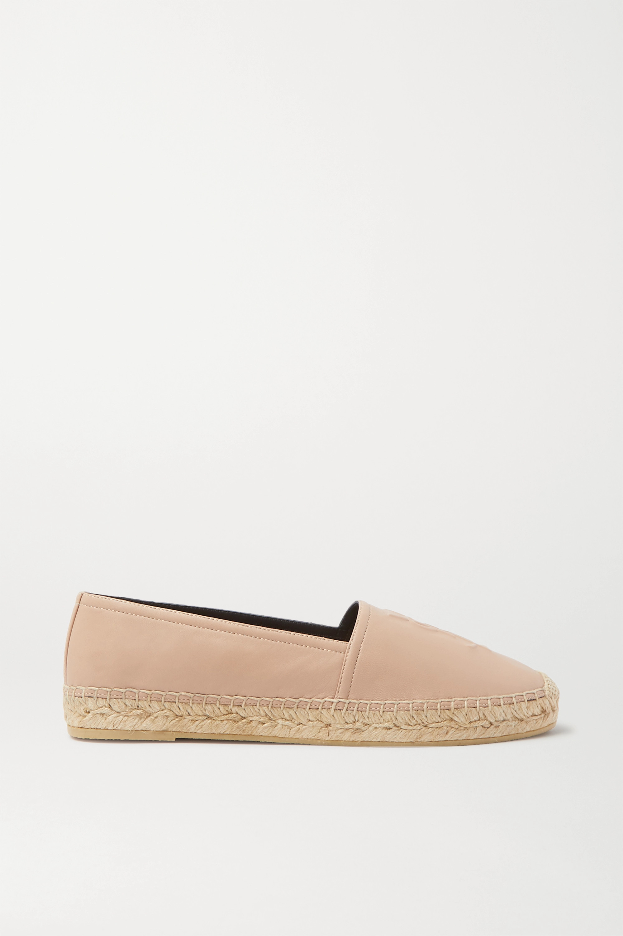 SAINT LAURENT Logo-embossed leather espadrilles