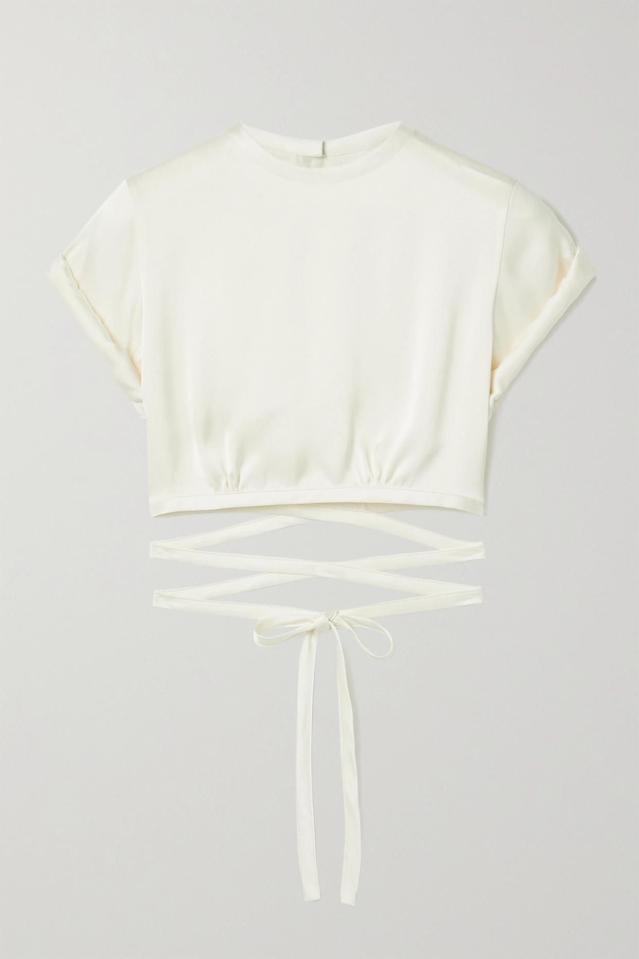ORSEUND IRIS - Le Club Cropped Satin Top - Cream - large