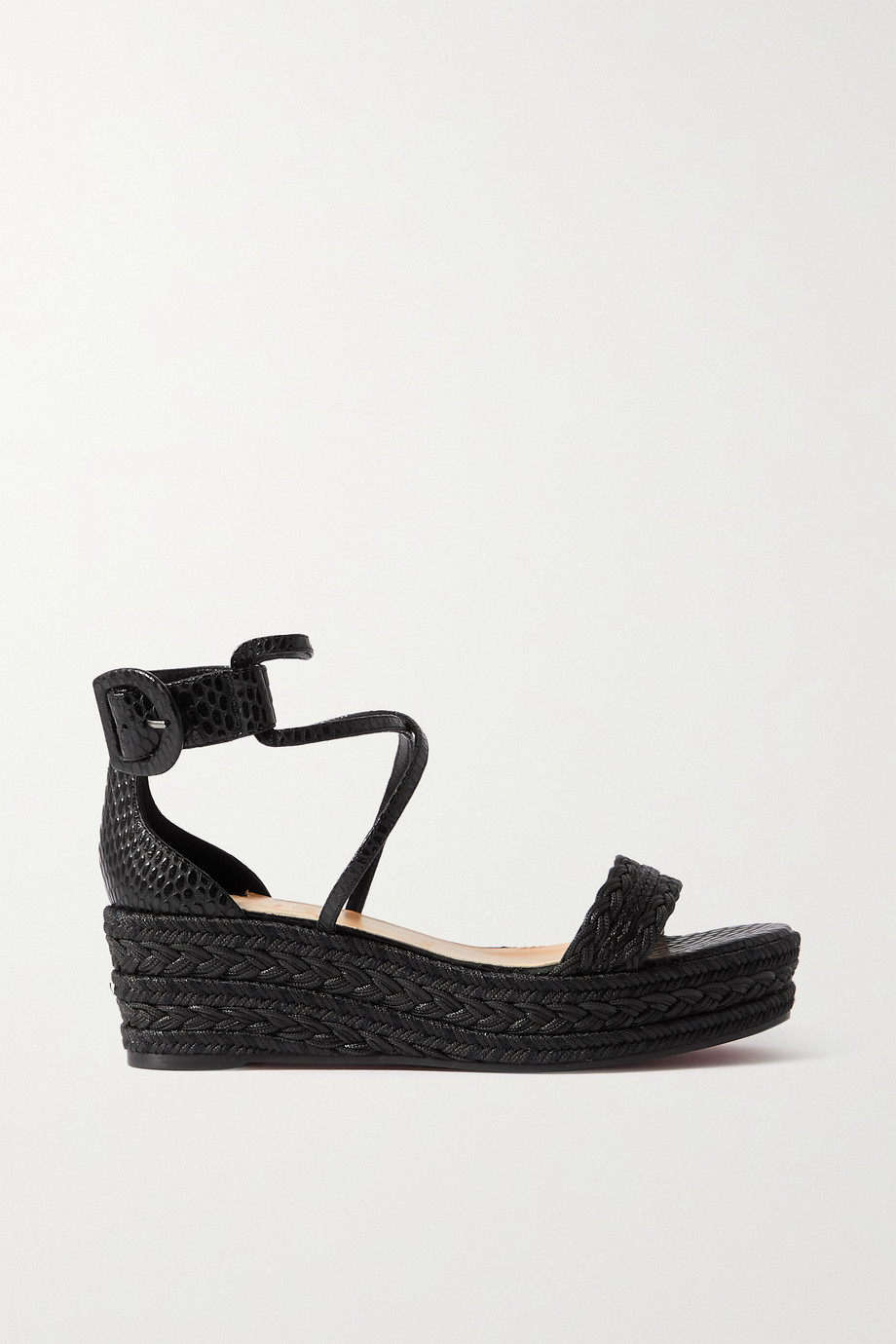 CHRISTIAN LOUBOUTIN Bodrum 60 lizard-effect leather and woven cotton espadrille platform sandals