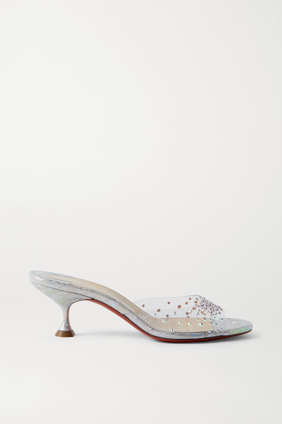 CHRISTIAN LOUBOUTIN Pailettacan 55 crystal-embellished PVC and iridescent snake-effect leather mules