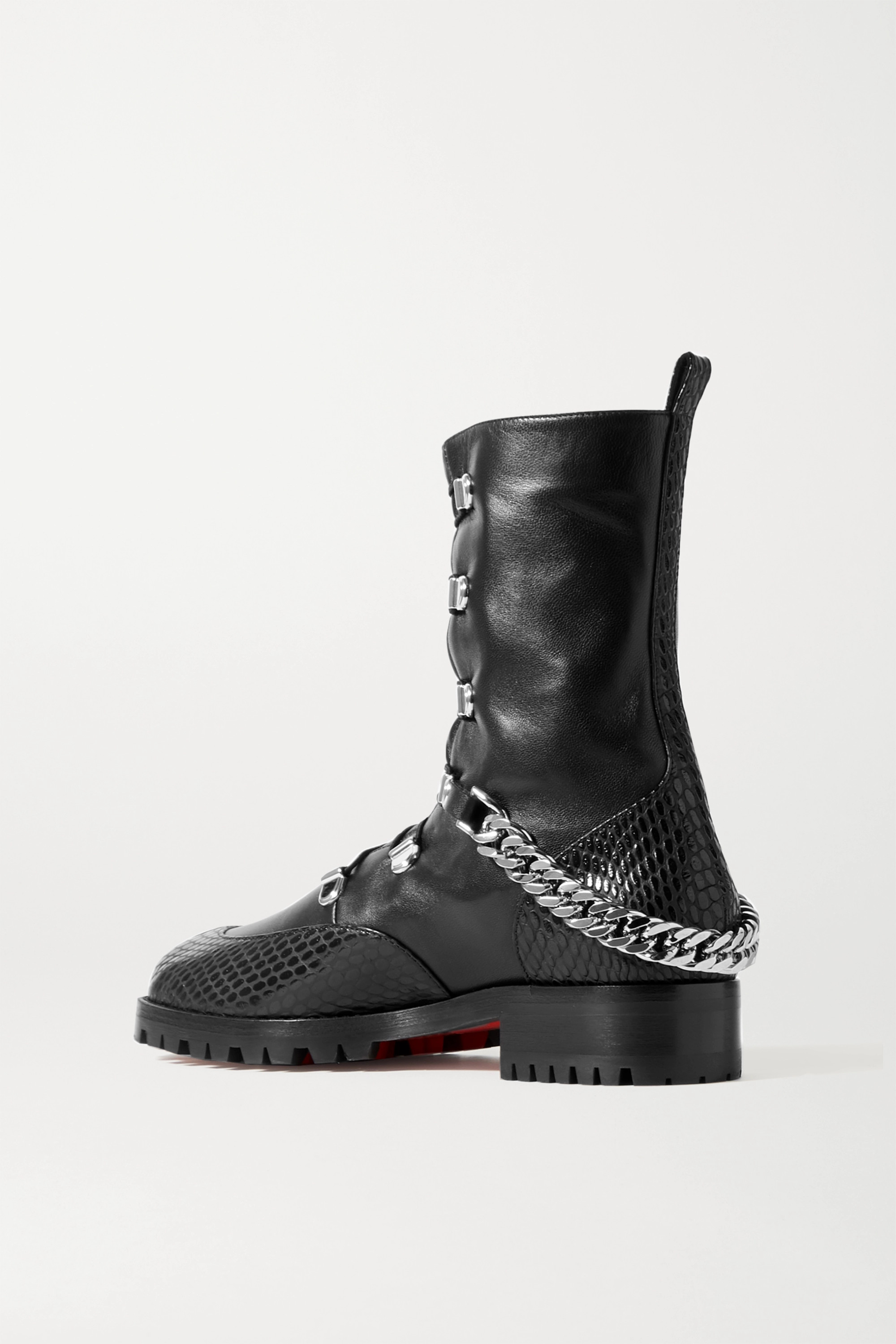 CHRISTIAN LOUBOUTIN 20 chain-embellished smooth and lizard-effect leather ankle boots