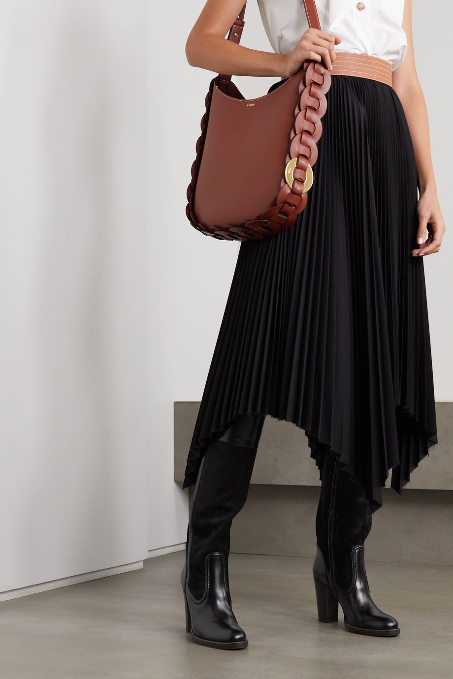 CHLOÉ Emma leather and suede knee boots