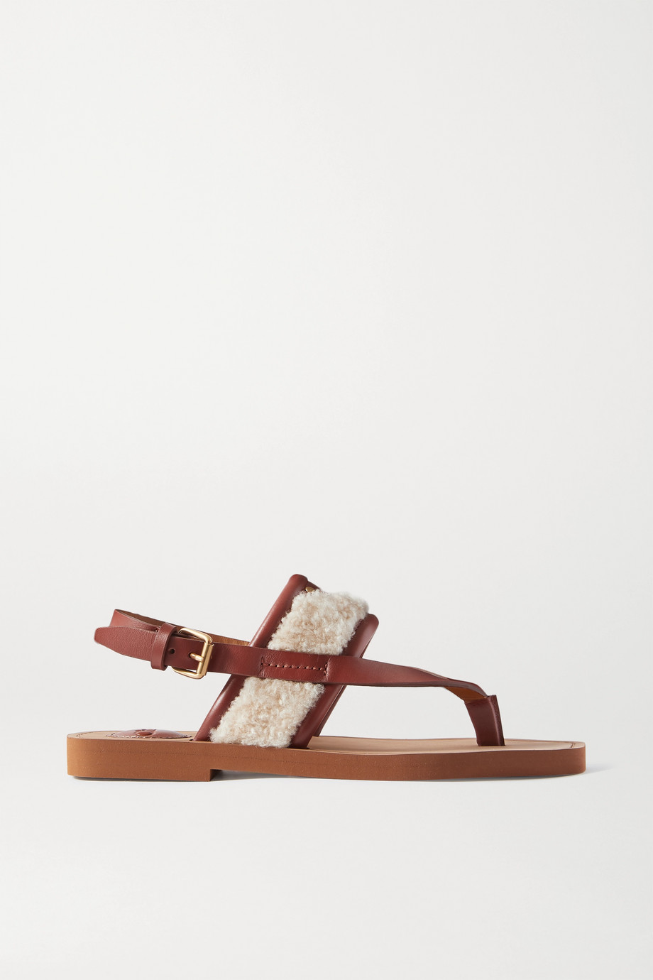CHLOÉ Woody shearling and leather sandals
