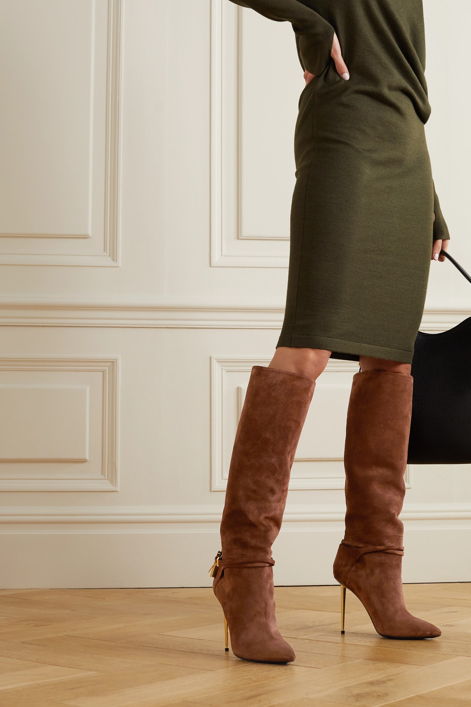 TOM FORD Padlock embellished suede knee boots