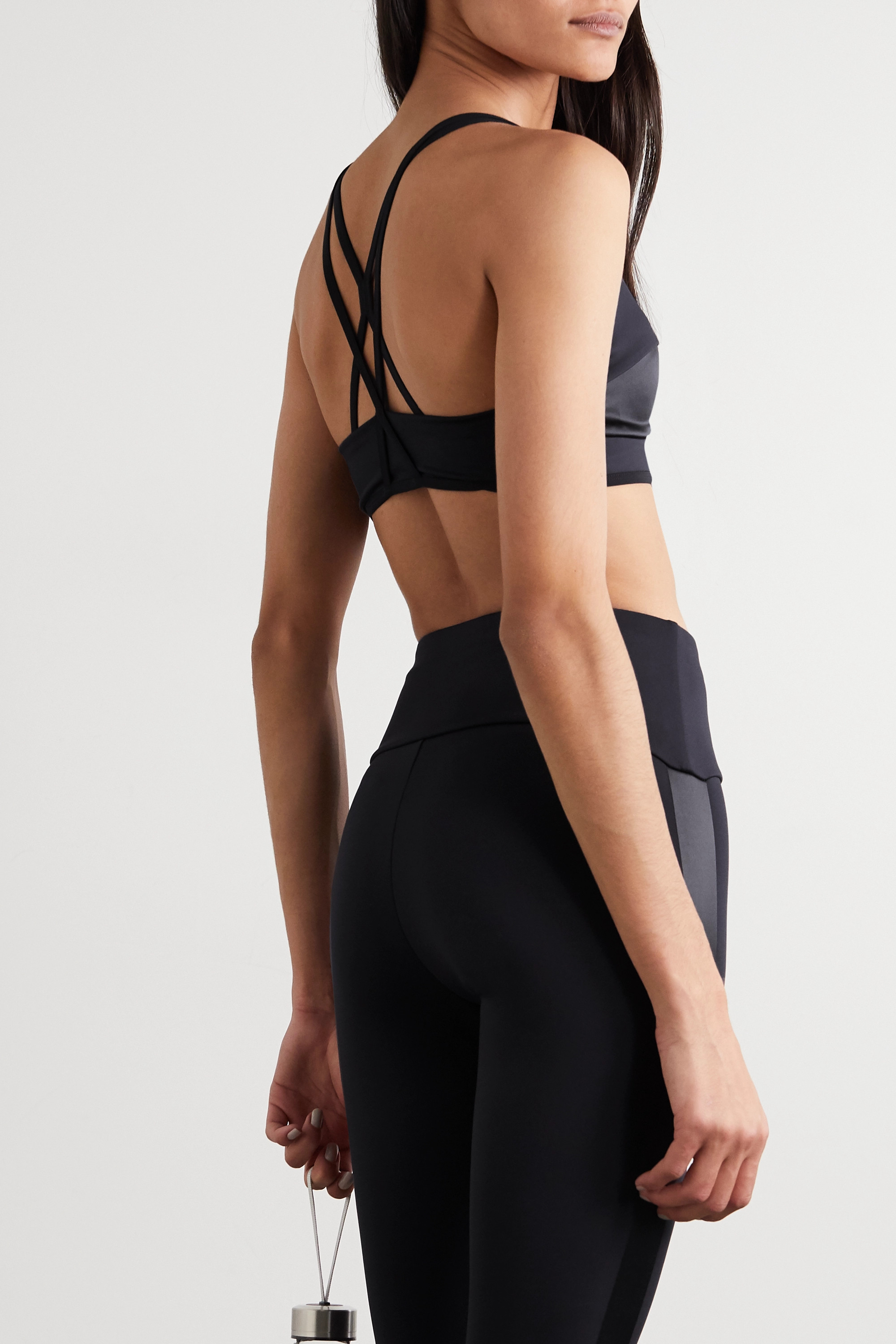 VAARA Jaq cutout mesh-trimmed stretch and satin sports bra