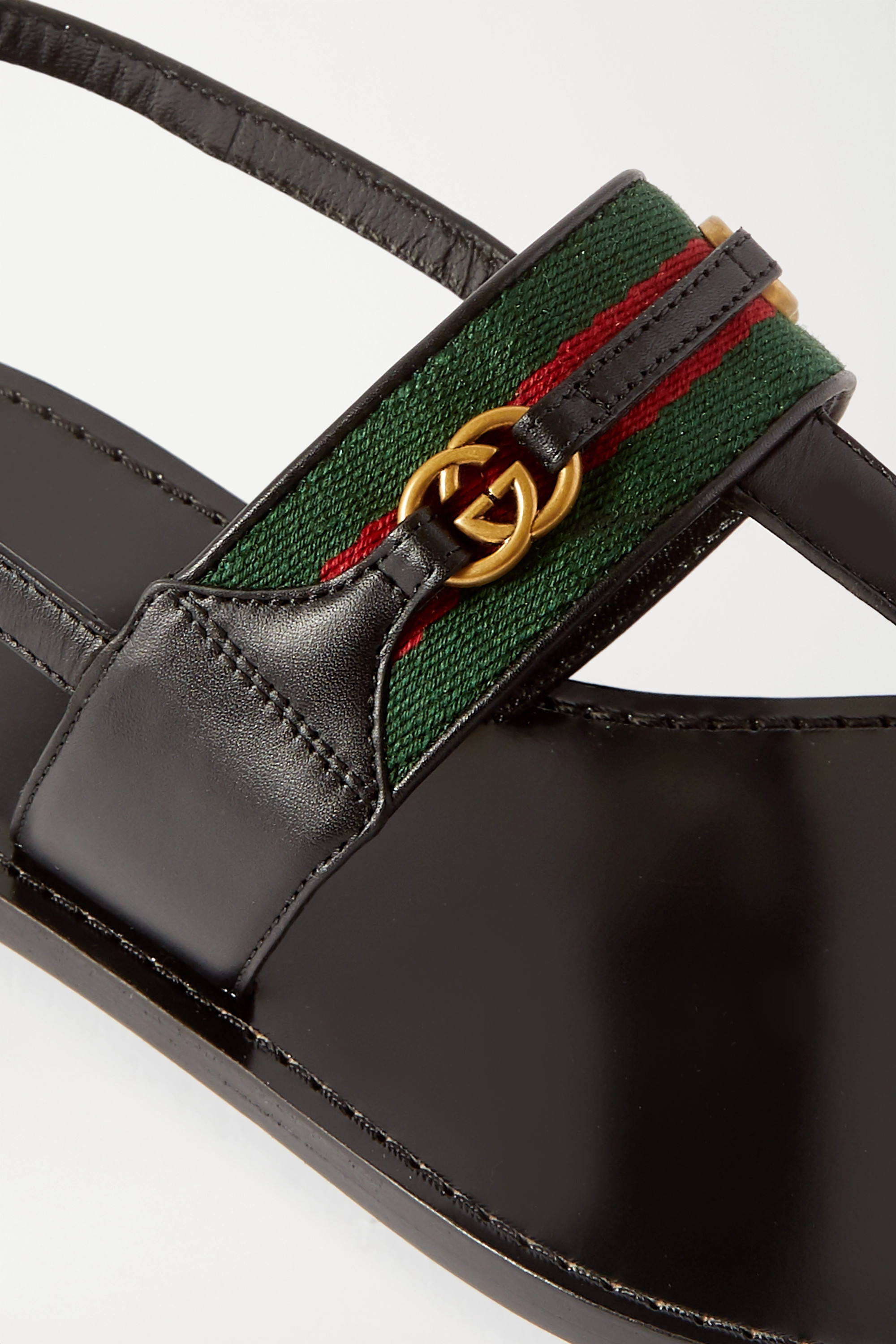 GUCCI Siryo embellished webbing-trimmed leather sandals