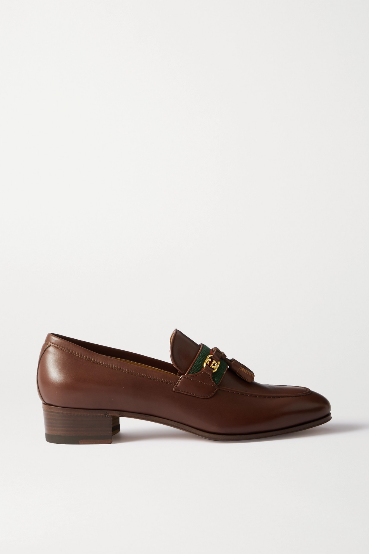 GUCCI - Paride Logo-detailed Grosgrain-trimmed Leather Loafers - Brown - IT37.5