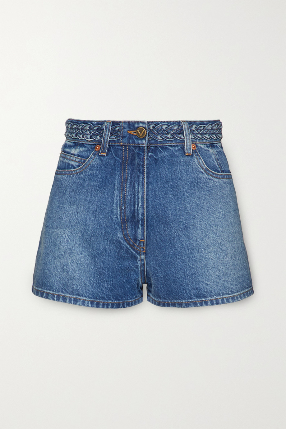 VALENTINO Braid-detailed denim shorts