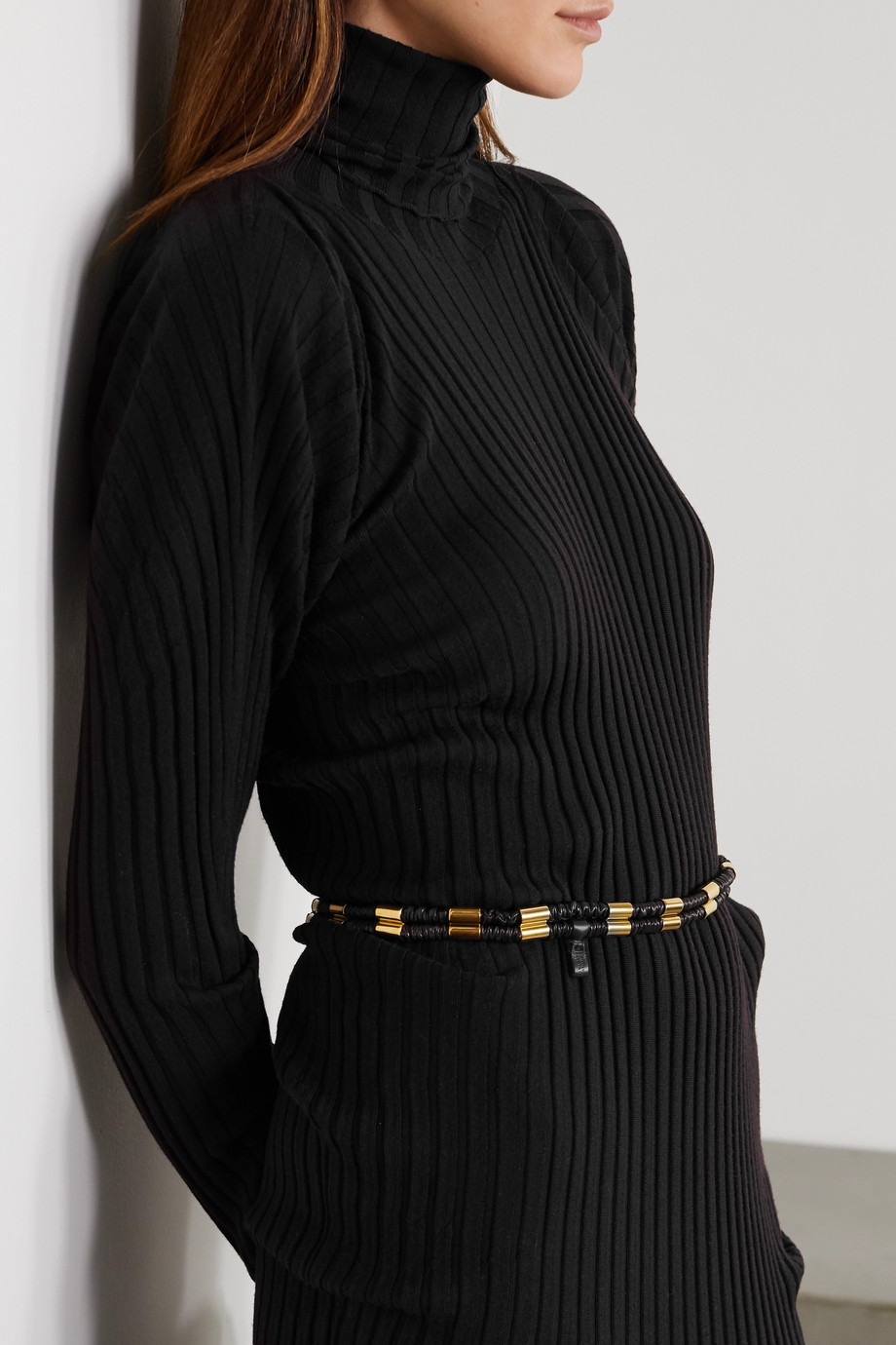 BOTTEGA VENETA Ruched leather and gold-tone belt
