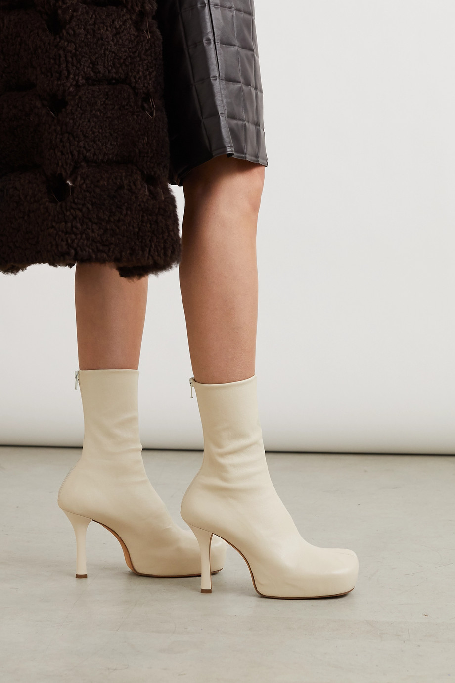 BOTTEGA VENETA Leather platform ankle boots
