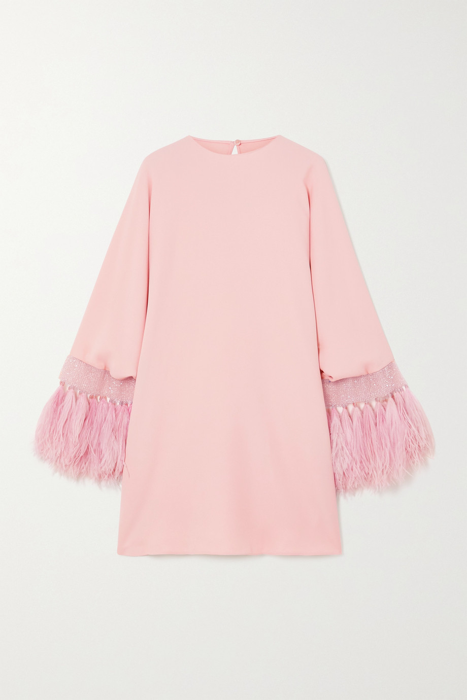 VALENTINO Feather trimmed silk-blend crepe mini dress