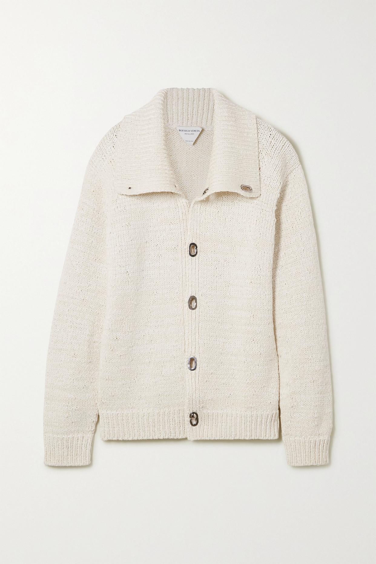 BOTTEGA VENETA - Oversized Knitted Jacket - White - large