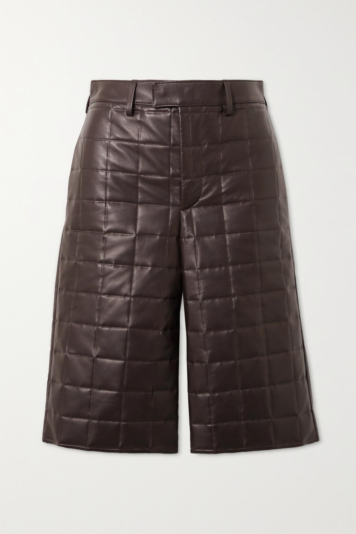BOTTEGA VENETA - 绗缝皮革短裤 - 棕色 - IT42