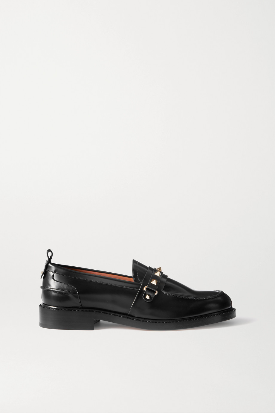 VALENTINO Valentino Garavani Rockstud glossed-leather loafers