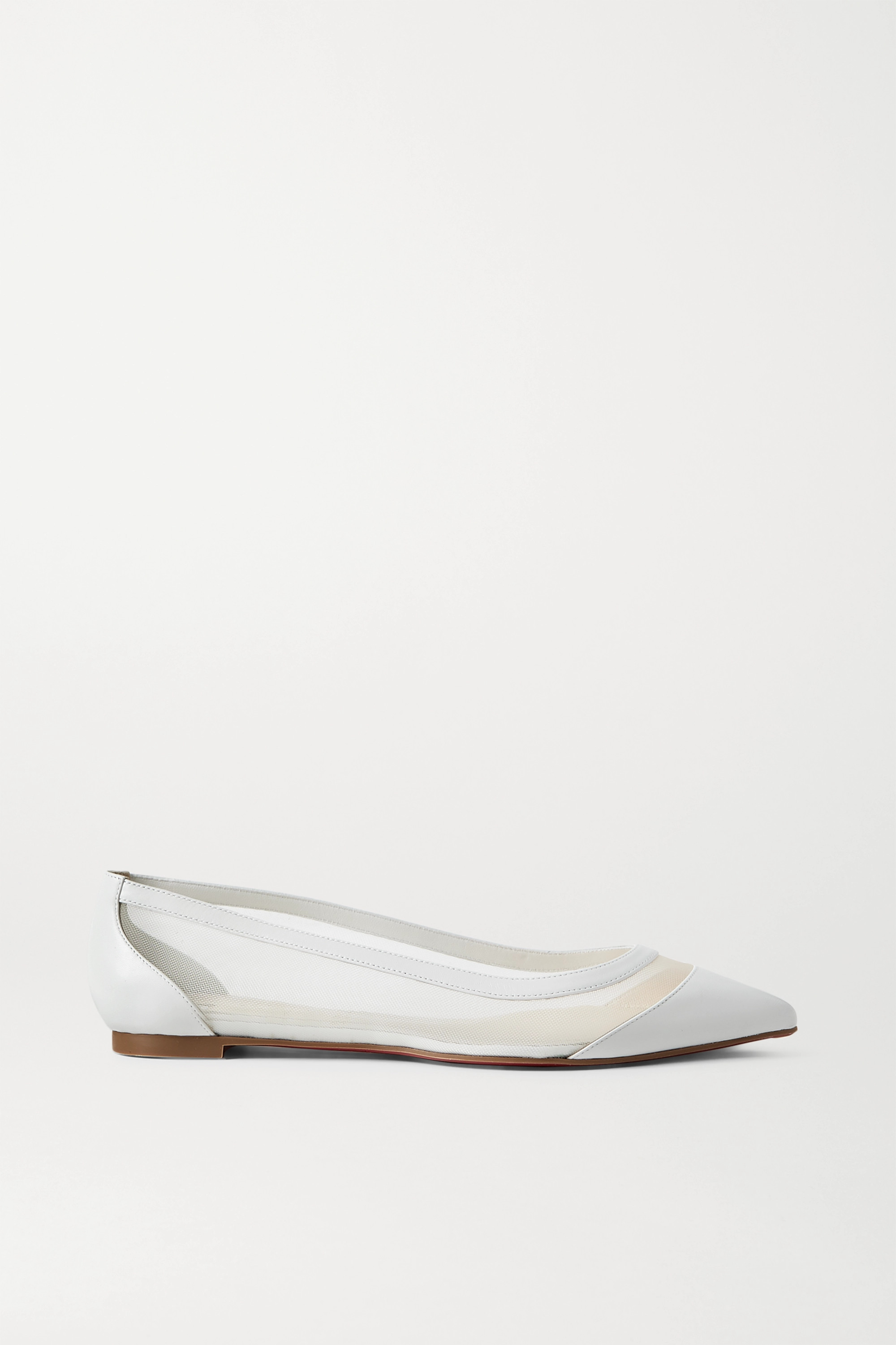 CHRISTIAN LOUBOUTIN Galativi leather and mesh point-toe flats