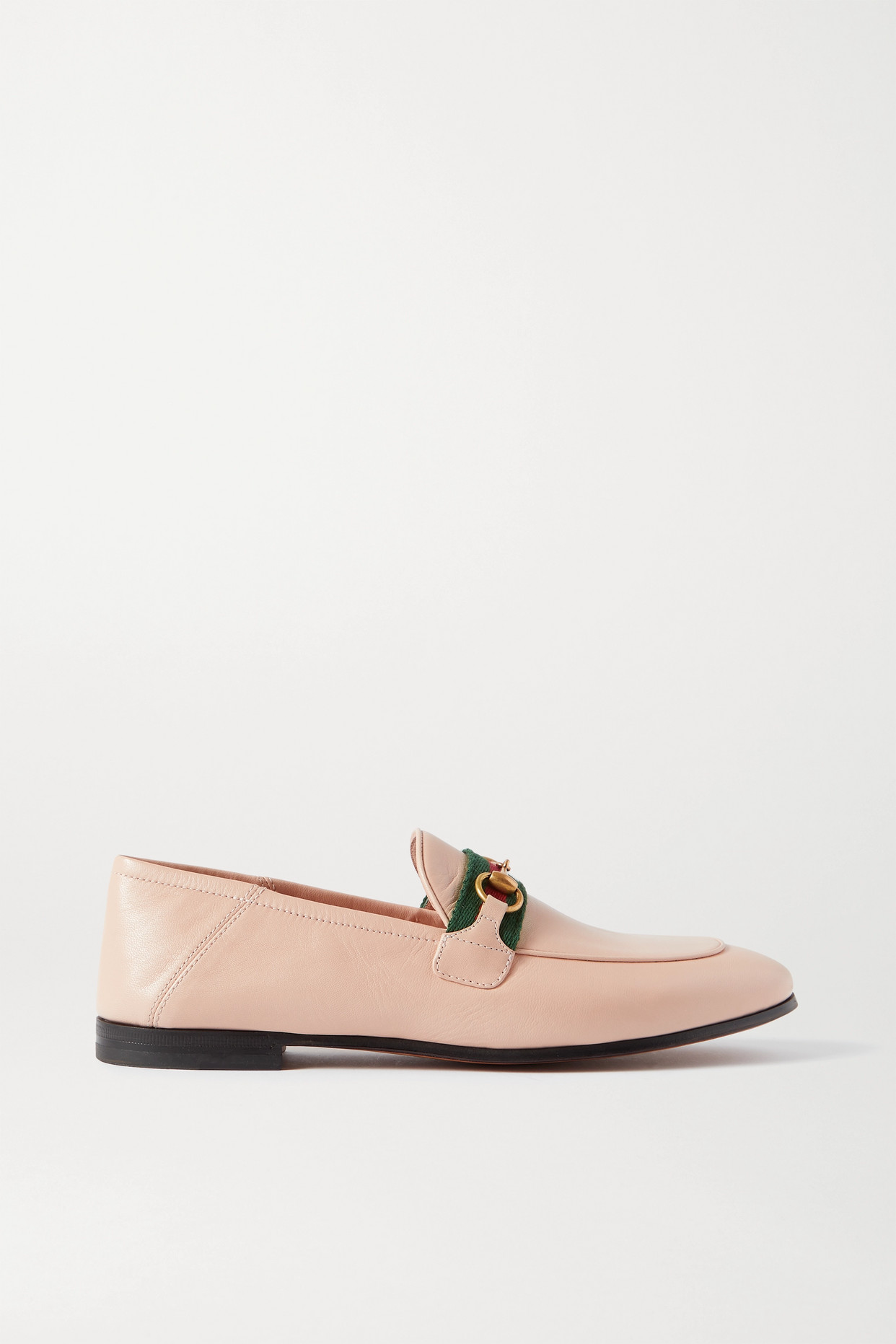 GUCCI - Brixton Horsebit-detailed Webbing-trimmed Leather Collapsible-heel Loafers - Cream - IT36.5