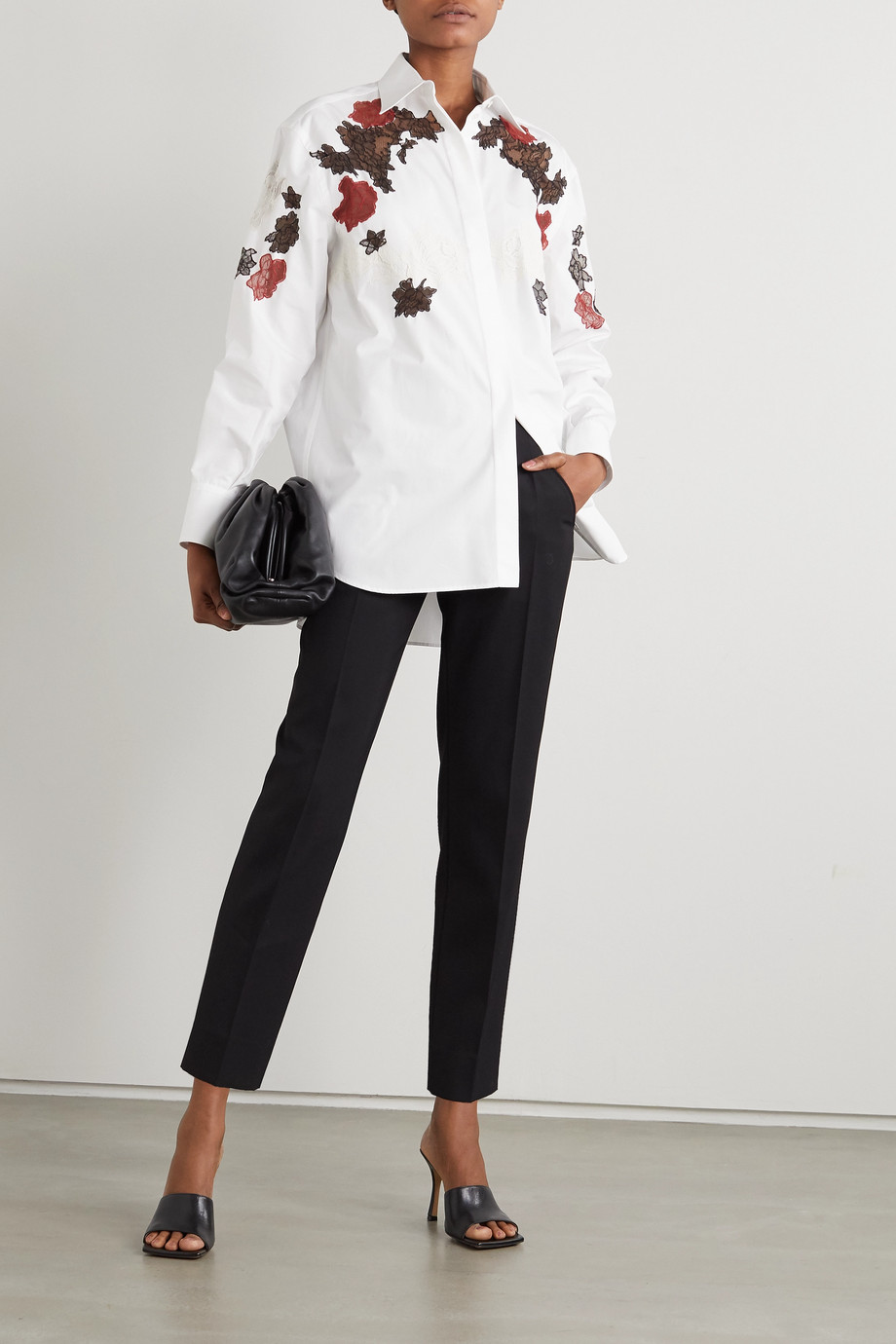 VALENTINO Lace-detailed cotton poplin shirt