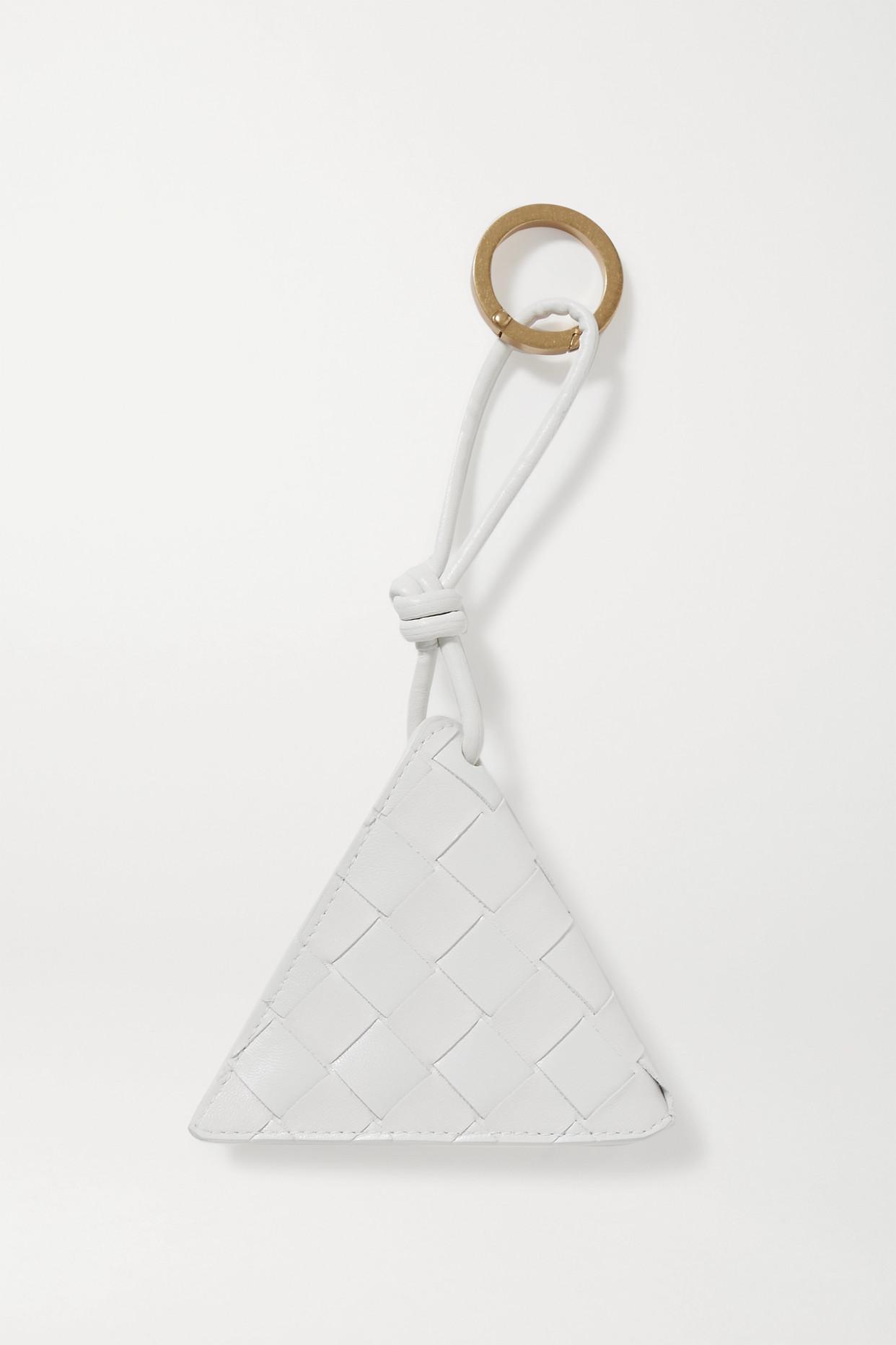 BOTTEGA VENETA - Intrecciato 皮革钥匙扣 - 白色 - one size