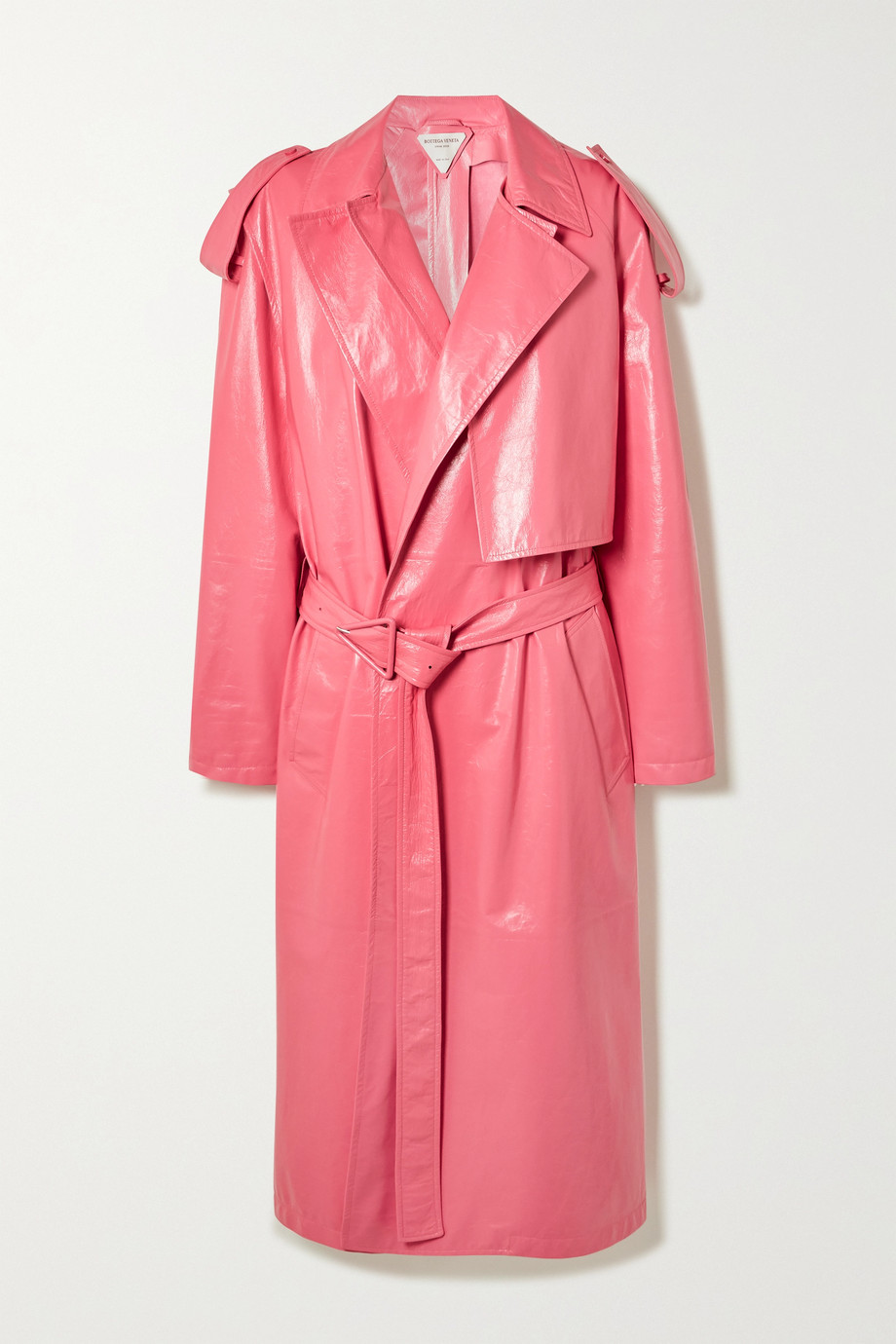 BOTTEGA VENETA Convertible crinkled glossed-leather trench coat