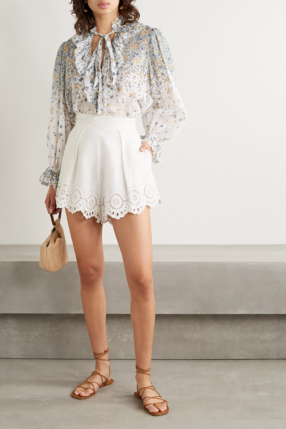 ZIMMERMANN Carnaby pussy-bow ruffled floral-print ramie blouse