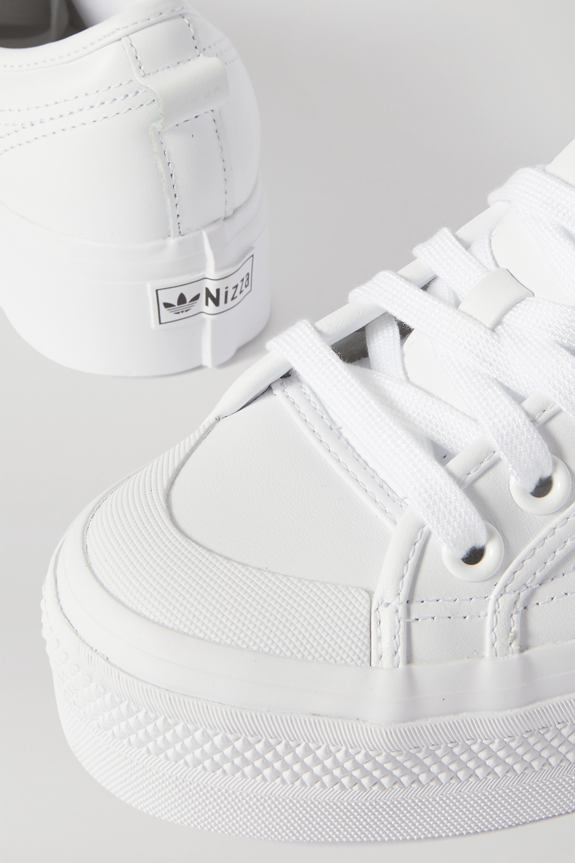 white leather platform shoes
