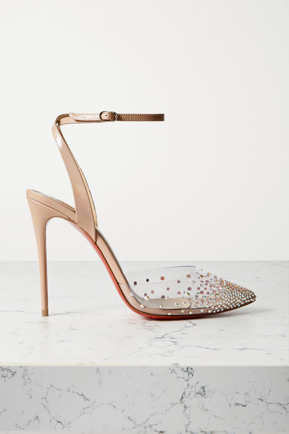 CHRISTIAN LOUBOUTIN Spika Queen crystal-embellished PVC and leather pumps