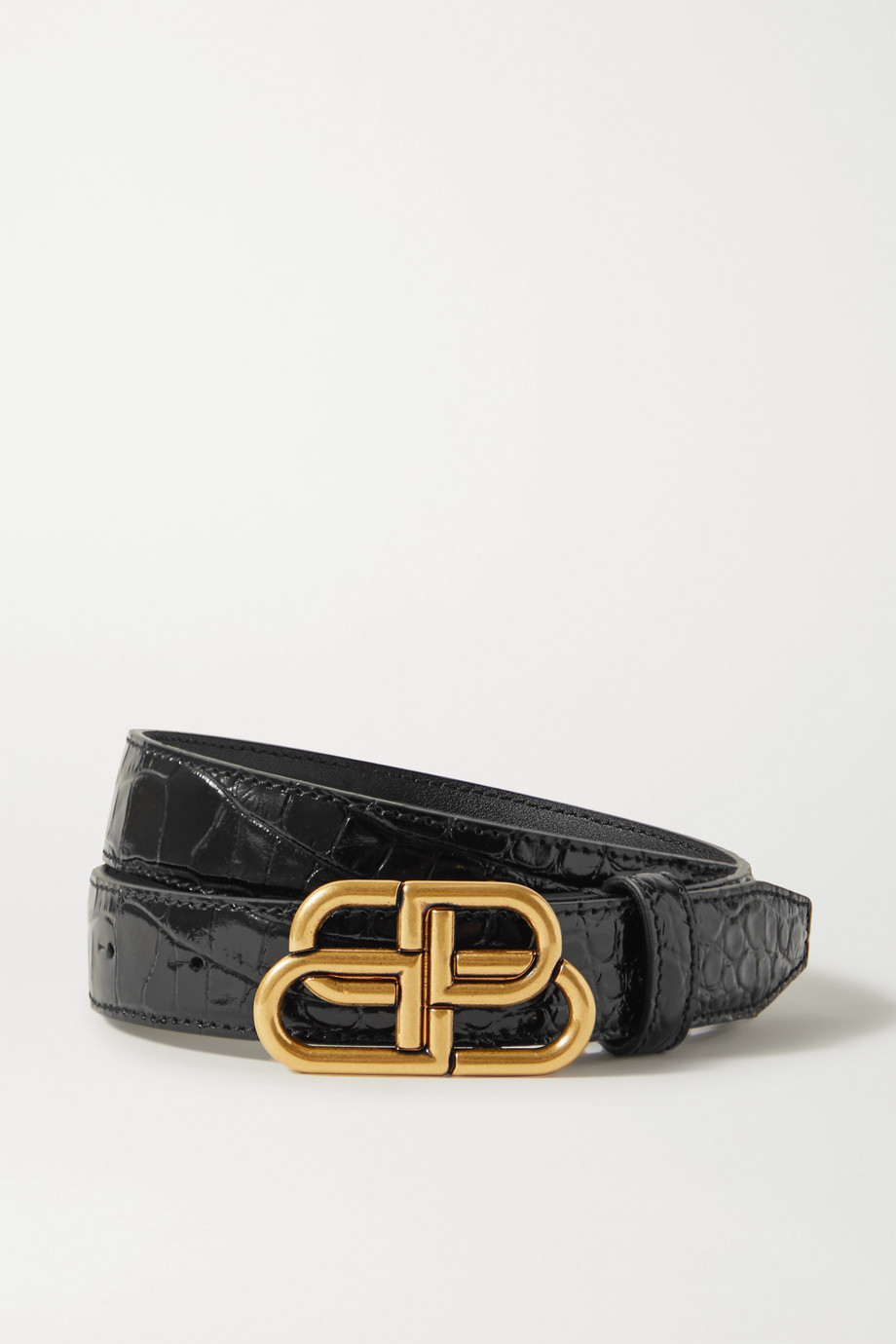 BALENCIAGA BB croc-effect leather belt