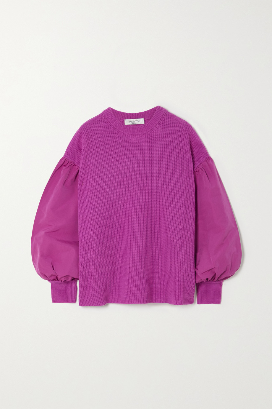 VALENTINO Paneled poplin and ribbed wool and cashmere-blend sweater