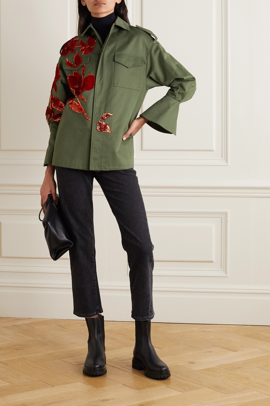 VALENTINO Appliquéd sequin-embellished cotton-twill jacket