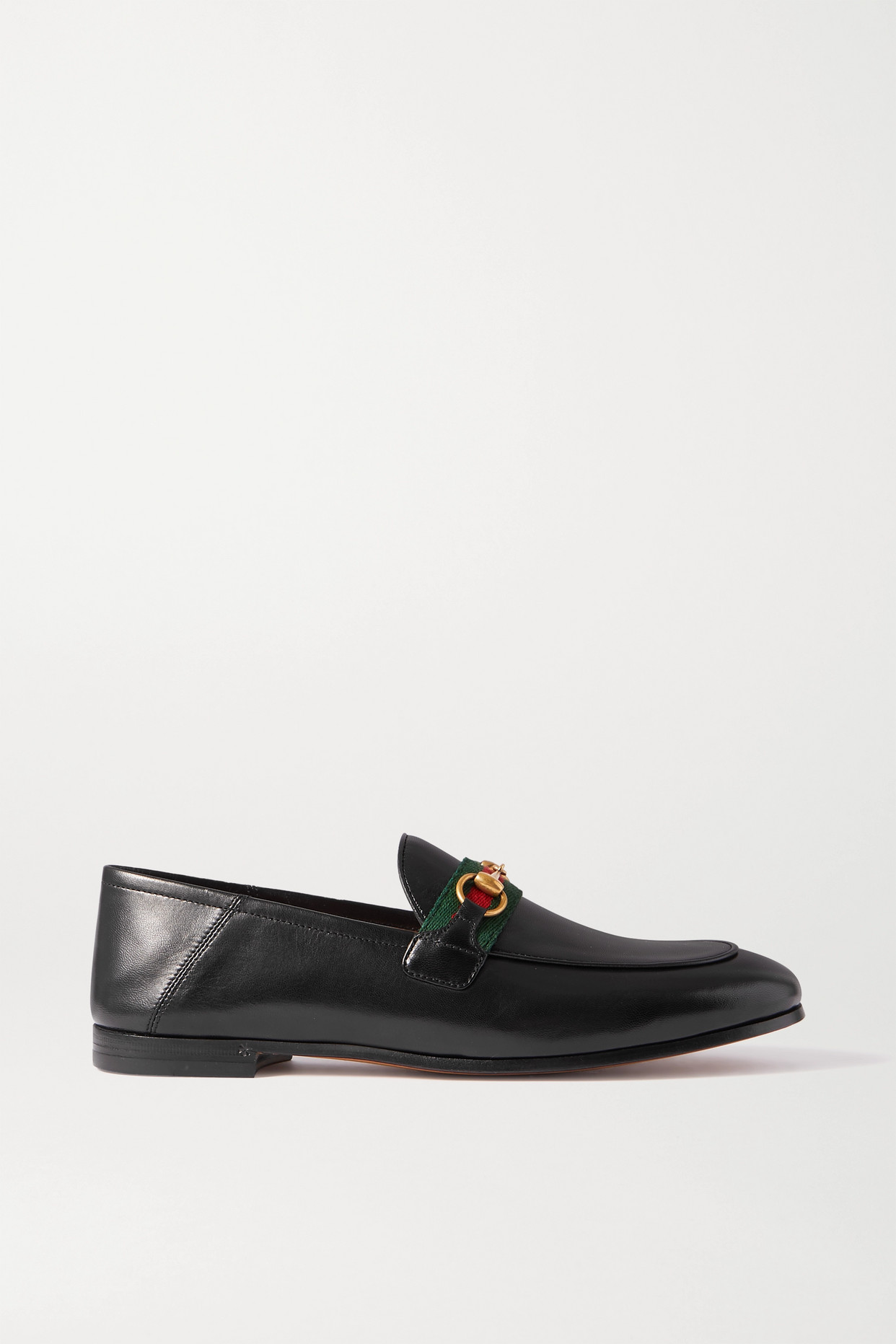 GUCCI - Brixton Horsebit-detailed Webbing-trimmed Leather Collapsible-heel Loafers - Black - IT38