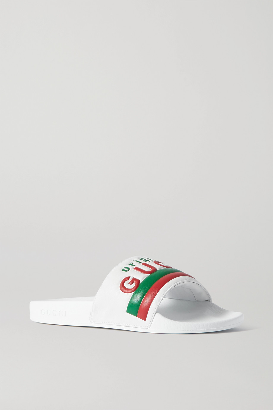 GUCCI Pursuit logo-embossed leather slides
