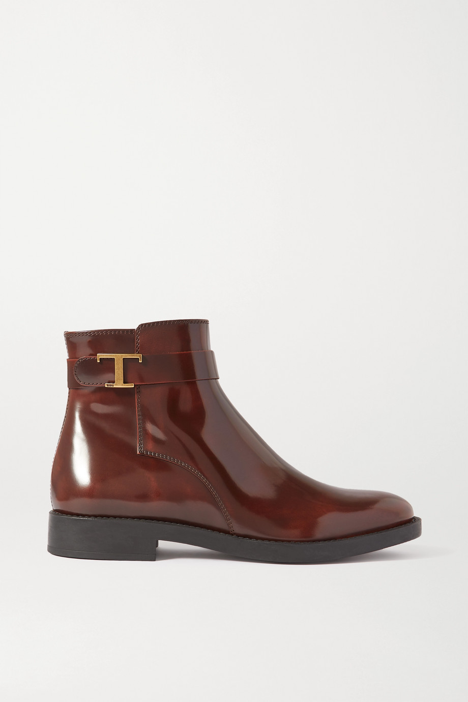 TOD'S Logo-embellished patent-leather ankle boots